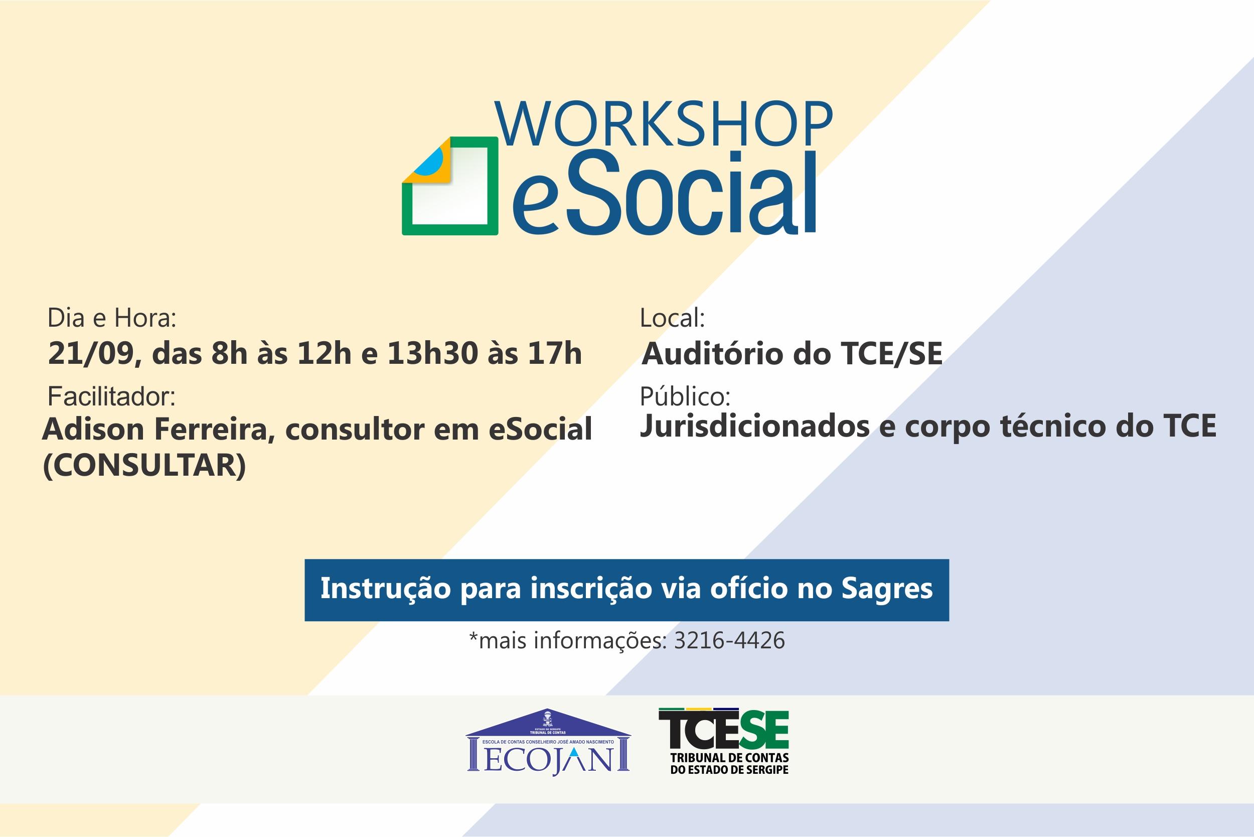 Tribunal de Contas abre inscrições para workshop sobre o eSocial
